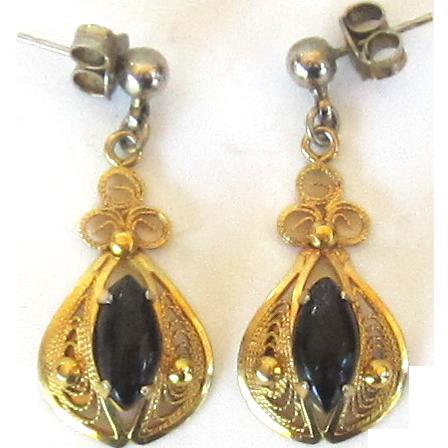 Vintage 12K Gold Filled Onyx Dangle Earrings