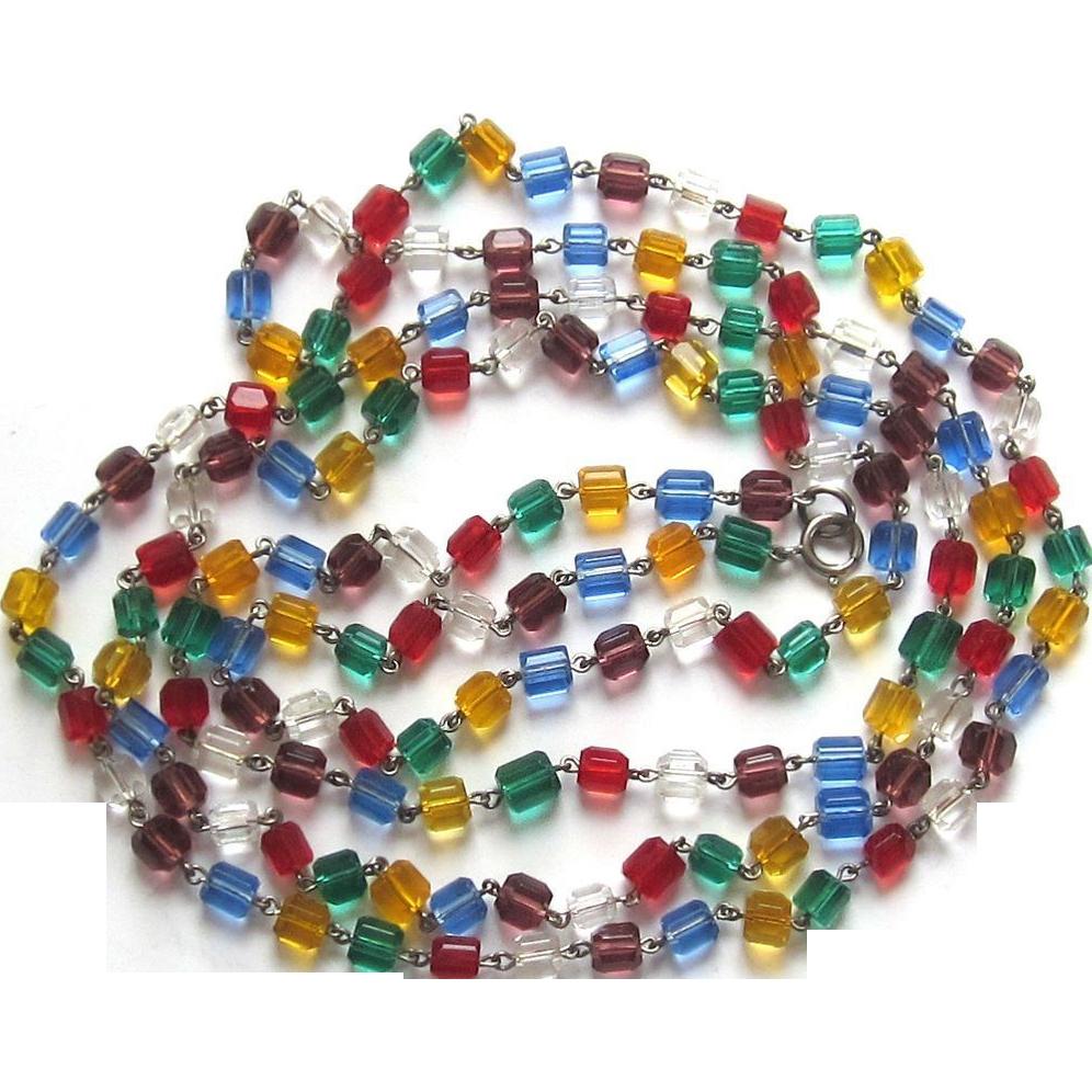 Vintage Glass Multi-Color Sautoir- Necklace