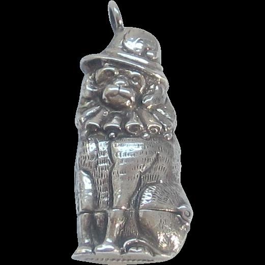 Vintage Sterling Silver Dog Match Safe