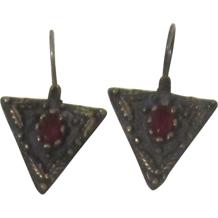 Vintage Sterling Silver Triangle Pierced Earrings