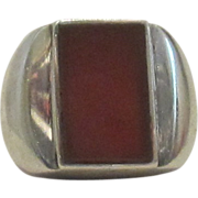 S. Paliu-Spain, Man's Sterling Silver and Carnelian Ring