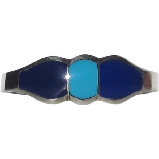950 Sterling Silver Turquoise, Lapis Hinged Bracelet