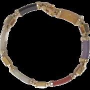 Vintage Dyed Jade Asian Gold Plate Bracelet