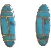 Sterling Silver Turquoise Pierced Earrings