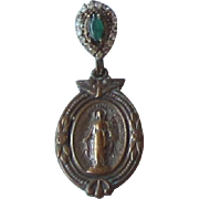 10K Gold Blessed Mary Medal with Green Stone, Rhinestones Pendant