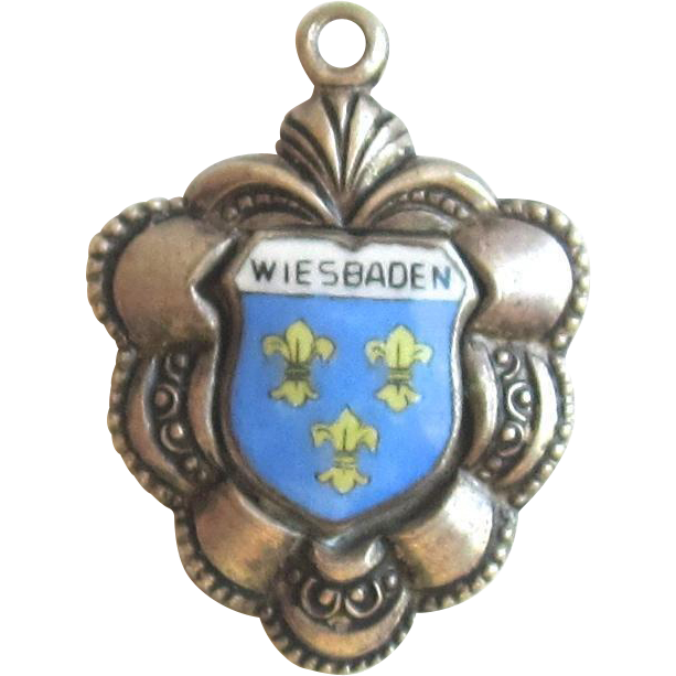 Vintage Sterling Silver, Enamel  Travel Charm-Wiesbaden