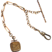 Victorian Gold Filled Tigers Eye Watch Chain and Fob