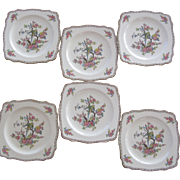 "Six Crown Ducal ""Parrot"" Dessert Plates"