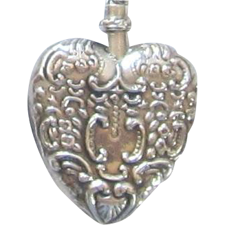 Vintage Sterling Silver Heart Perfume Pendant Necklace