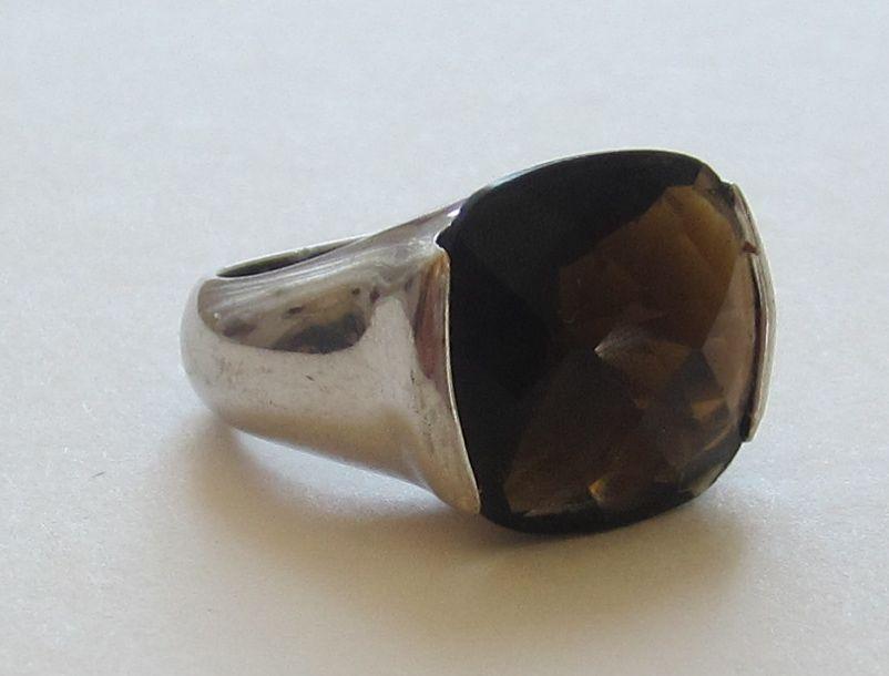 modernism vintage smoky quartz topaz sterling silver ring