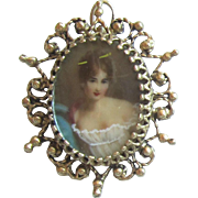 14 K Gold Portrait Pendant and Pin