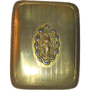 Brass Rosary Case with Sapphires - Blessed Mother