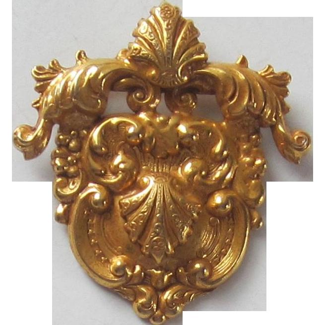 Vintage Crest Metal Brooch