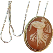 Vintage Cameo, Sterling Silver Necklace