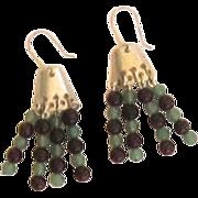 Sterling Silver, Amethyst,  Chancery Bead Dangle Earrings.