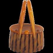 Vintage Llewellyn Lucite Mock Tortoise Handbag