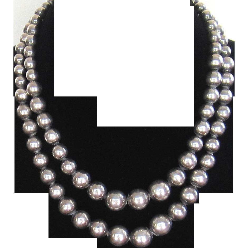 vintage strand sterling silver bead necklace