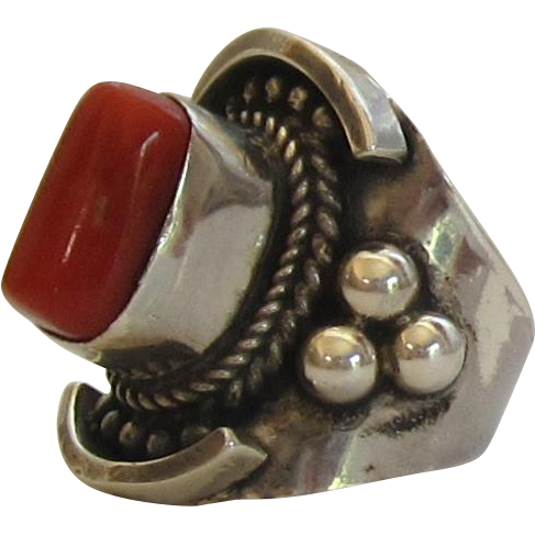 Chunky Sterling Silver ,Coral Ring - Size 7