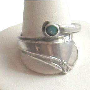 Wrap Around Sterling Silver,Turquoise Ring - TOWLE