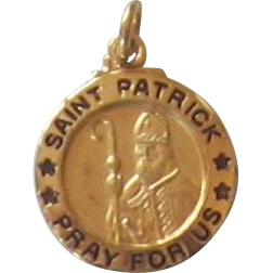 Sterling Silver, Gold Overlay, St. Patrick  Medal