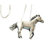 Vintage Sterling Silver Horse Pendant and Chain Necklace