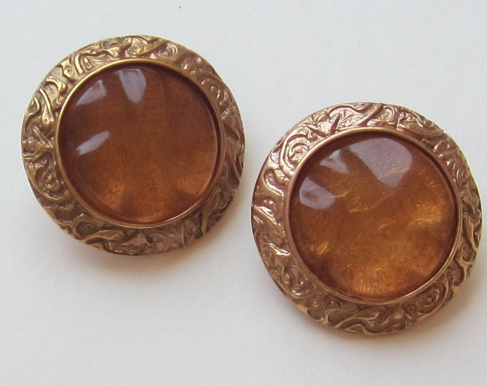 Bold Vintage YSL Pierced Round Gold Tone Earrings