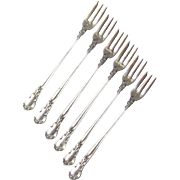 Sterling Silver Set of Six Seafood Forks