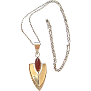 Art Deco Style Sterling Silver Carnelian Pendant Chain Necklace