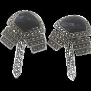 Art Deco Onyx, Marcasite Dangle Earrings