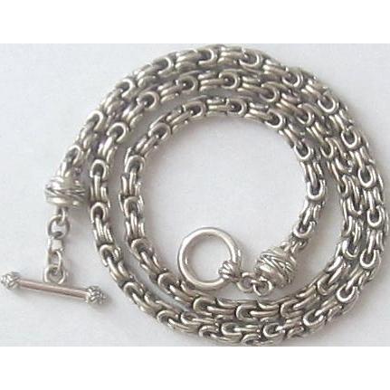 Vintage Sterling Silver Byzantine Toggle Necklace