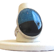 Beautiful Sterling Silver Onyx, Lapis Ring - Size 8