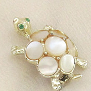 Adorable Vintage Gold Tone Turtle with Mother Of Pearl Brooch