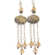 Beautiful Sterling Silver Faux Pearl Signed Earrings