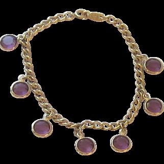 Link Bracelet with Purple Faceted Swarovski Crystals