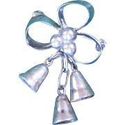 Vintage Sterling Silver Holly Bell Pin/Brooch - Mexico