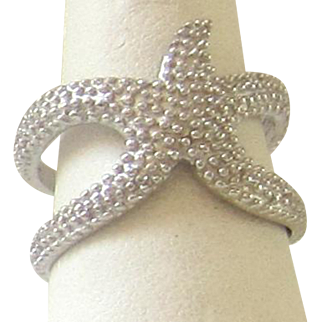 Star Fish Sterling Silver Double band Ring - Size 5