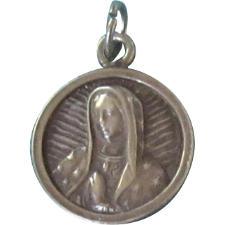 Vintage Sterling Silver Blessed Mother Round Pendant
