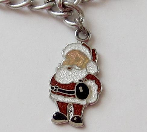 Sterling Silver Santa Claus Charm Bracelet