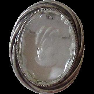 Vintage Brooch, Pendant Oval Glass Intaglio, Cameo