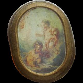 Italian Wood Box, Print on Lid of Children playing
