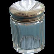 Vintage Sterling Silver Glass Vanity Jar - Small