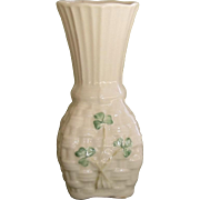 Belleek Basket Weave Shamrock Vase - 1993 -96