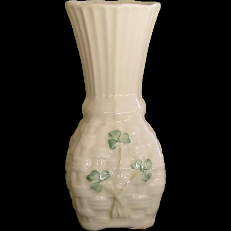 Belleek Basket Weave Shamrock Vase - 1993 -96