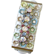 Wide Clamper Bracelet with Shiny  pastel flowers