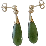 14K Gold Jade Dangle  Pierced Earrings