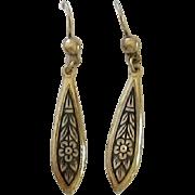 Long  Sterling Silver Vermeil Dangle Earrings