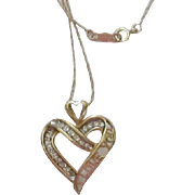 "14K ""I LOVE YOU"" Heart, Diamond Pendant and Chain Necklace"
