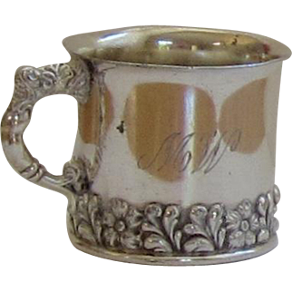Baby Cup Vase, Silver Plate, Monogrammed