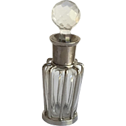 Tall Crystal and Metal Perfume Bottle