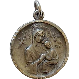 Blessed Mother and Baby Jesus Sterling Silver Medal, Sacred Heart on Reverse Side